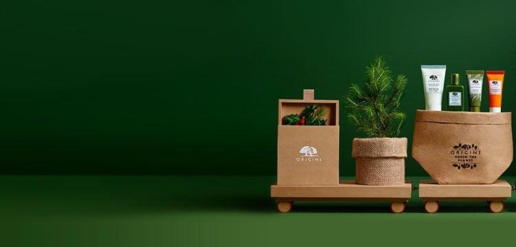 fond vert avec arbres de Noël